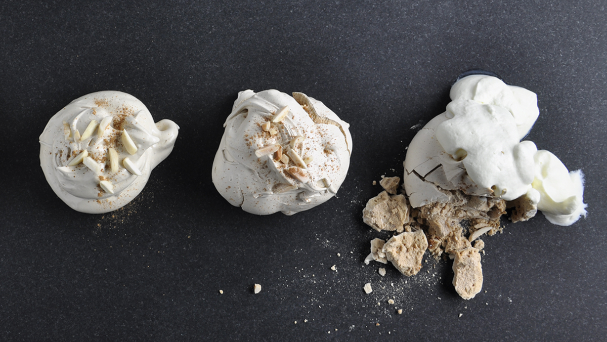 Salted Almond and Orange Blossom Water Meringues